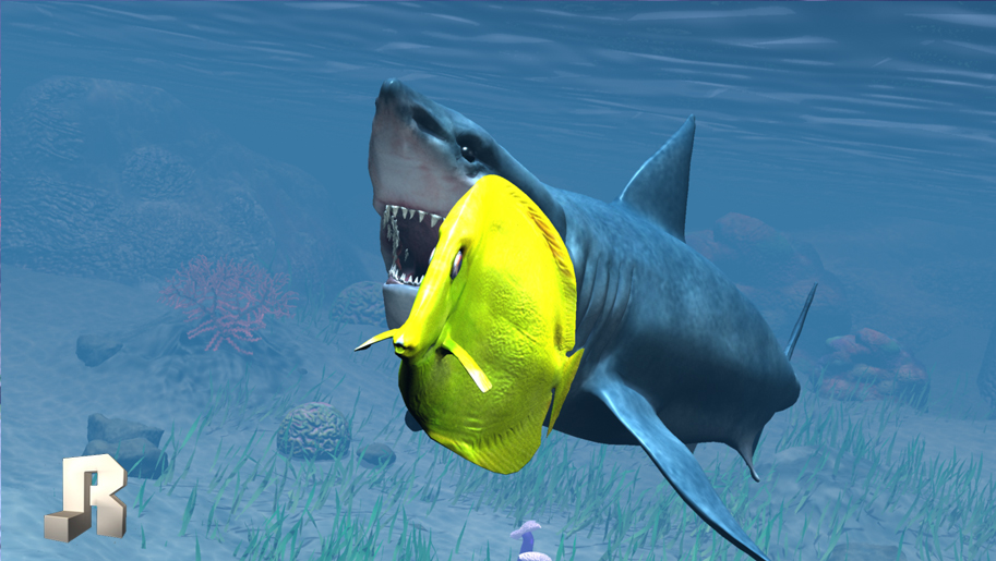 3d animated under water shark